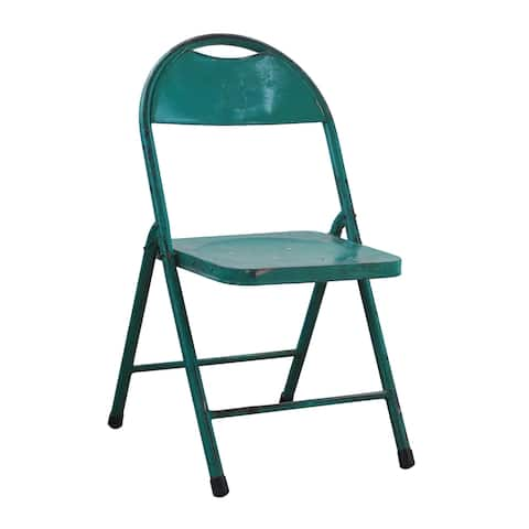 A&B Home Distressed Green Antique Folding Chair