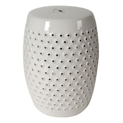 18-inch Finley Gloss White Indoor/Outdoor Patterned Stool