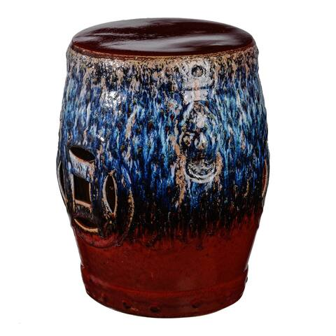 A&B Home Tove 18-inch Blue and Red Ceramic Stool