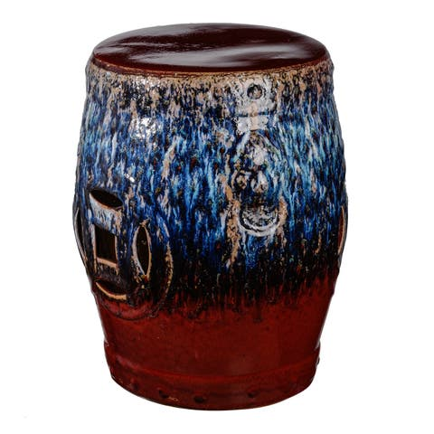 18-inch Blue and Red Tove Ceramic Stool
