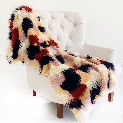 Plutus Fanciful Boho Plush Handmade Luxury Faux Fur Throw