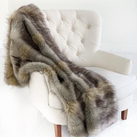 Plutus Gray Wolverine Pelage Plush Handmade Luxury Faux Fur Throw
