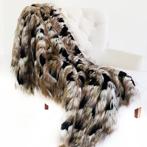 Plutus Black and Gold Fancy Rococo Plush Handmade Faux Fur Throw