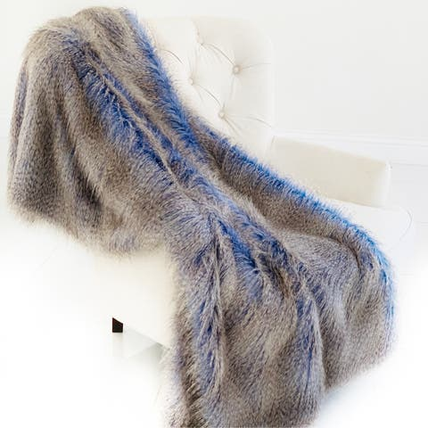Plutus Plush Azure Jean Handmade Luxury Faux Fur Throw