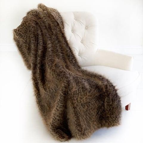 Plutus Plush Tawny WildCat Handmade Luxury Faux Fur Throw