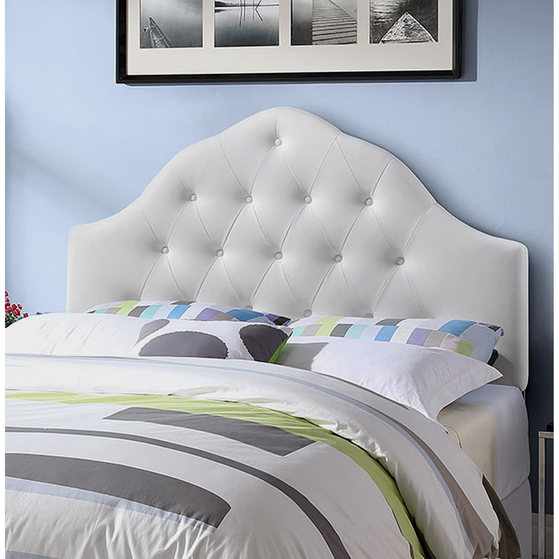 Contemporary Tufted Upholstered King Size Bedroom Headboard in White Vinyl