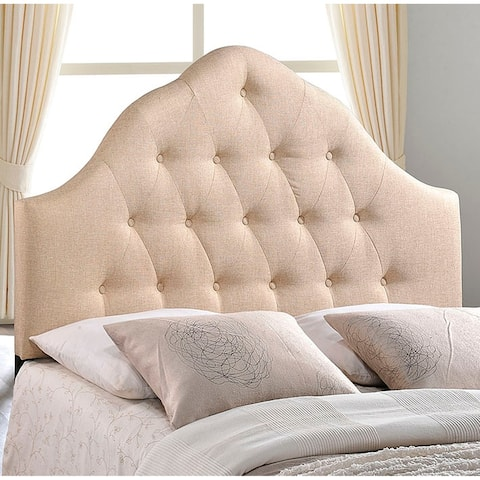 Brighton Queen Size Beige Fabric Upholstered Button Tufted Headboard