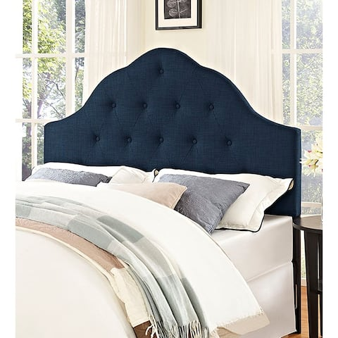 Brighton Queen Size Blue Fabric Upholstered Button Tufted Headboard