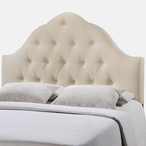 Brighton Queen Size Ivory Fabric Upholstered Button Tufted Headboard
