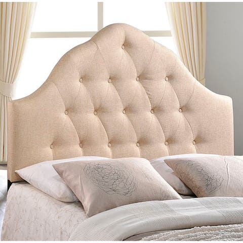 Brighton King Size Beige Fabric Upholstered Button Tufted Headboard