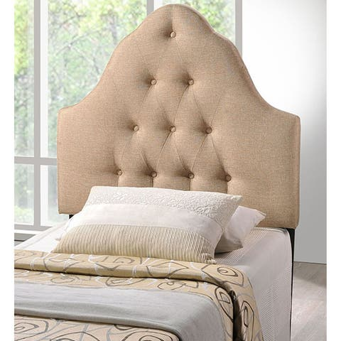 Brighton Twin Size Beige Fabric Upholstered Button Tufted Headboard