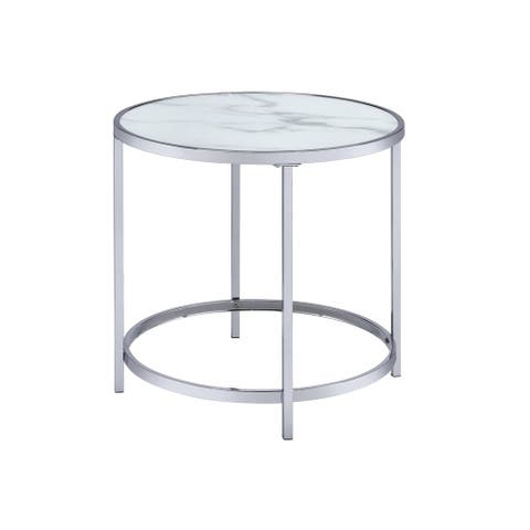 Realm Round Faux Marble Top End Table by Greyson Living