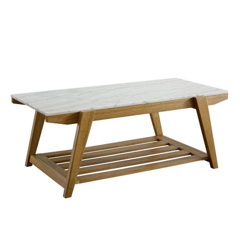 Claire White Marble Top Coffee Table by Greyson Living