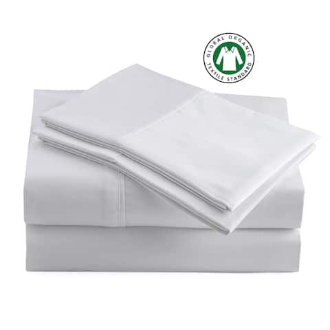 Certified Organic Cotton Soft Brushed Percale Solid Sheet Set