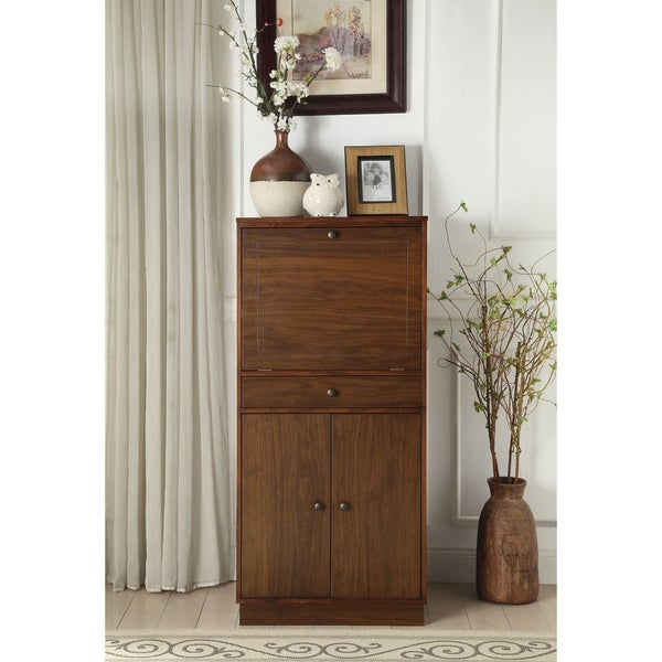Spacious Wooden Wine Cabinet with Drop Down Storage and Double Door Cabinet, Brown