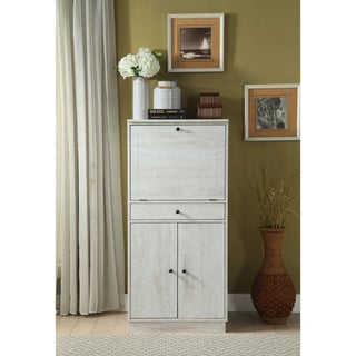 Spacious Wooden Wine Cabinet with Drop Down Storage and Double Door Cabinet, White