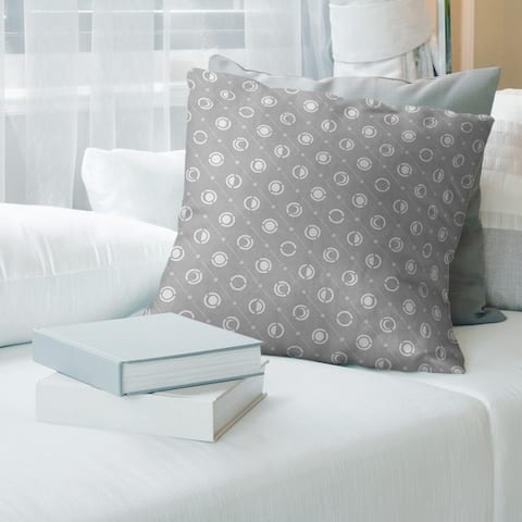 Cool Tones Classic Moon Phases Pattern Throw Pillow