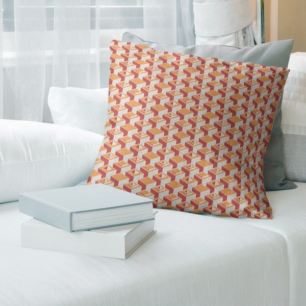 Two Color Light Skyscrapers Pattern Throw Pillow