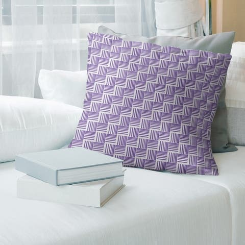 Cool Tones Classic Basketweave Stripes Throw Pillow