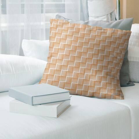 Warm Tones Classic Basketweave Stripes Throw Pillow