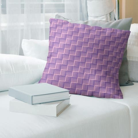 Two Color Basketweave Stripes Throw Pillow