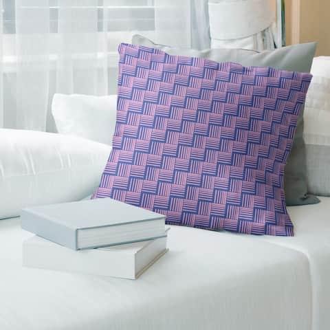 Blue Feature Color Contrast Basketweave Stripes Throw Pillow