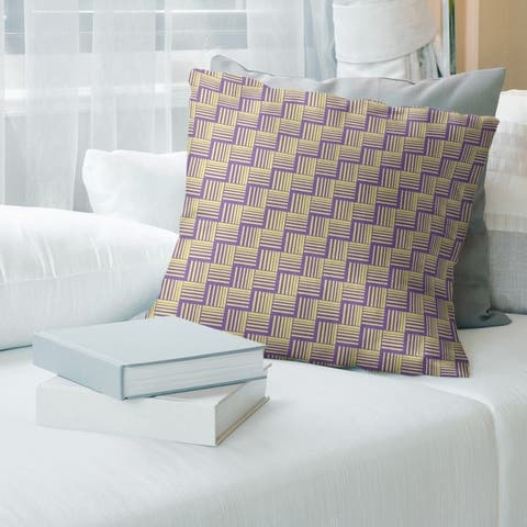 Two Color Basketweave Stripes with Yellow Throw Pillow