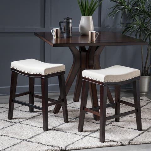 Kimi Studded 26 Inch Saddle Counter Stool (Set of 2) by Christopher Knight Home