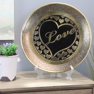 Natural Geo Loving Heart Wall Hanging Brass Accent Plate