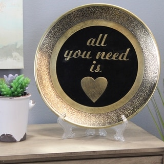 Natural Geo All You Need is Love Decorative Wall Hanging Brass Accent Plate