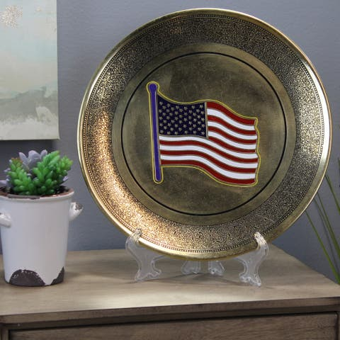 Natural Geo USA Flag Decorative Wall Hanging Brass Accent Plate