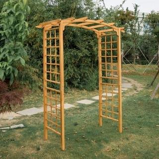 "Kinbor Wood Arbor Outdoor Trellis Pergola Garden Arch Wedding Decoration 90"" High x 28.3"" Wide"