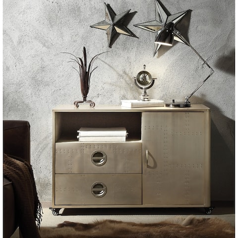 Spacious Wooden Cabinet with Aluminium Patchwork and Castors, Gold