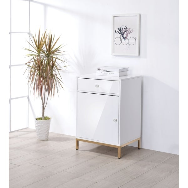 Metal Base Wooden Cabinet with Drawer and Door Storage, White and Gold