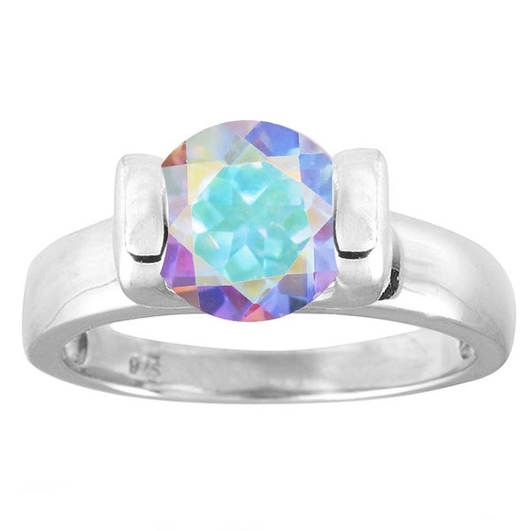 Rainbow Topaz Solitaire in  .925 silver Free Shipping