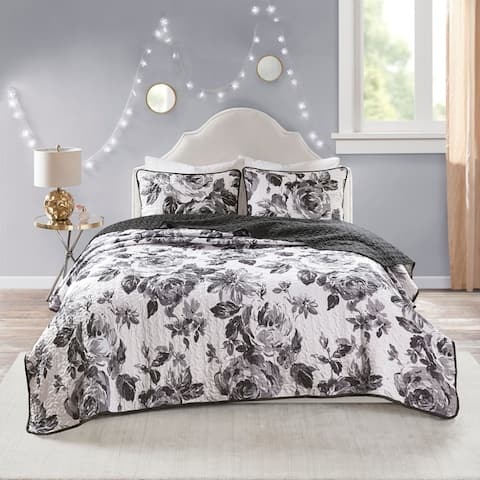 Intelligent Design Renee Black/ White Reversible Printed Coverlet Set