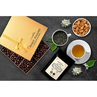 Link to Andy Anand Vegan Dark Chocolate coated Almonds Gift Box 1lbs With Free Jasmine Tea 2oz Similar Items in Gourmet Food Baskets