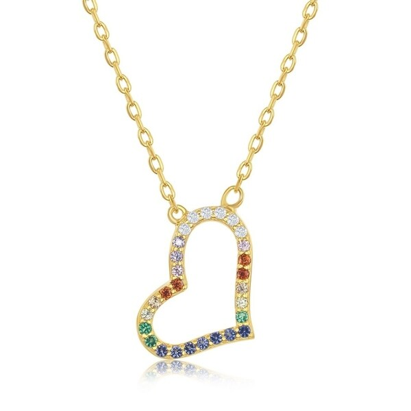 Sterling Silver Cubic Zirconia Evil Eye Necklace Gold Plated Round 1//2 inch 16 inch 11 mm