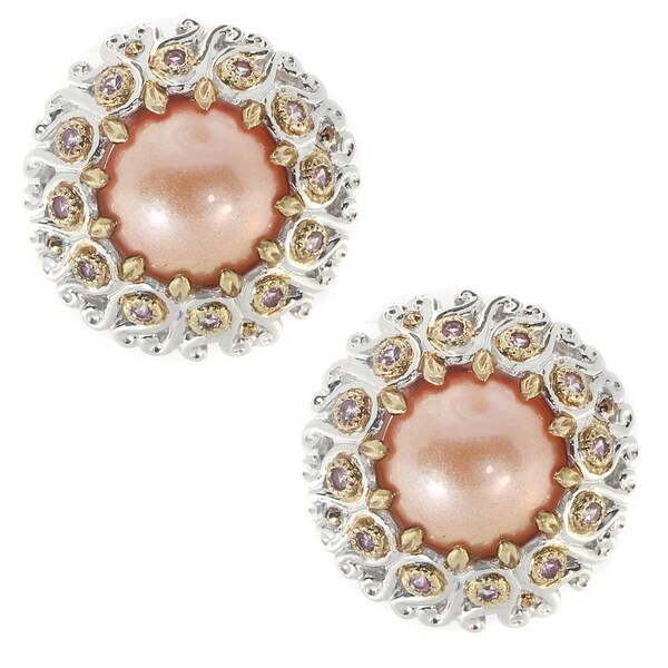 Michael Valitutti Palladium Silver Peach Mabe Pearl & Pink Sapphire Stud Earrings