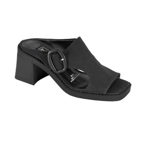 FUZZY Judith Extra Wide Width Comfort Heeled Sandals with Buckle