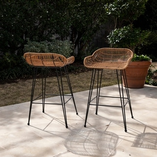 Havenside Home Leandro Contemporary Natural/Black Faux Rattan/Iron Outdoor Stools (Set of 2) (As Is Item)