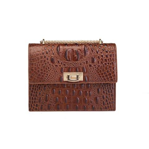 Tauren Croc Embossed Leather Crossbody/Handbag