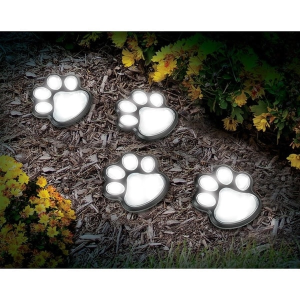 Solar Paw Print Lights (set of 4). Opens flyout.