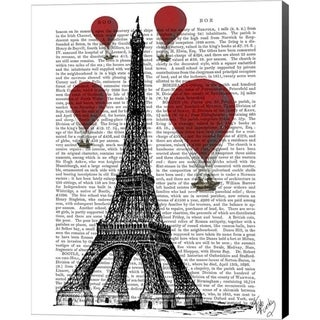 Fab Funky 'Eiffel Tower and Red Hot Air Balloons' Canvas Art