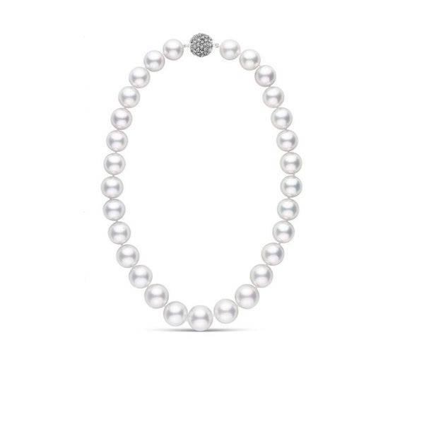 Pearlyta AAA Quality Round South Sea Cultured Pearl Necklace with Diamond Studded Clasp for Women 10-12mm