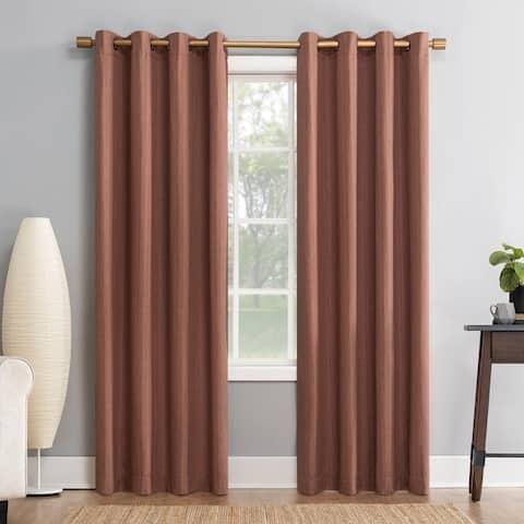 Sun Zero Gavlin Crosshatch Jacquard Extreme 100% Blackout Grommet Curtain Panel