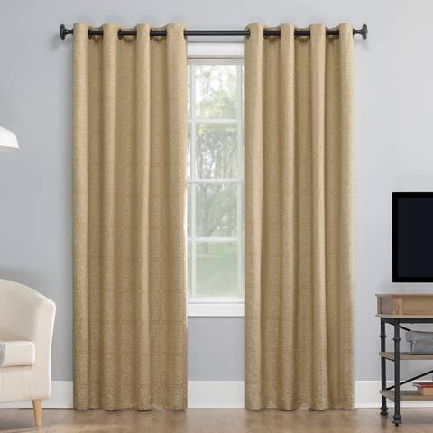 Sun Zero Evie Medallion Jacquard Extreme 100% Blackout Grommet Curtain Panel