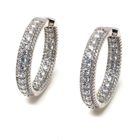 Suzy Levian Sterling Silver White Cubic Zirconia Hoop Earrings
