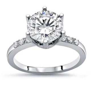 2 50ct TGW Round Moissanite And Diamond Engagement Ring 14k White Gold