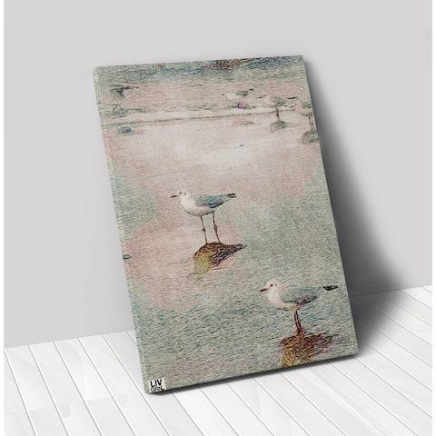 Liv Grn Seagulls Stretched Canvas Wall Art by Amrita Sen